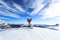 Mountains cable car over Bucegi Plateau Stock Photos
