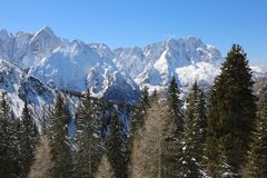 Mountains called Carnic Alps in Northern Italy with snow Royalty Free Stock Photography
