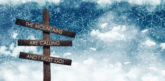 Mountains calling sign under night blue snowy sky. 3D Rendering Royalty Free Stock Images