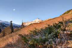 The mountains in the Caucasus. Caucasus Mountains in the autumn under the moon Stock Photography