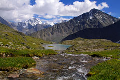 Mountains Caucasus top. Glacier river valley, an Alpine meadow nature Royalty Free Stock Photo