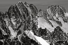 Mountains of Chamonix Aiguille Verte Les Droites Royalty Free Stock Images