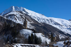 Mountains and church of Notre-Dame in La Grave, France Royalty Free Stock Photography