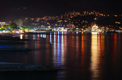 Mountains city at night. Black sea Stock Photos