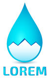 Mountains in clear water drop logo. Mountains in clear water drop, vector logo template Royalty Free Stock Photos