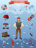 Mountains climbing infographics poster Stock Photography