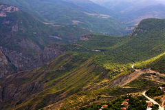 Mountains close to Tatev canyon in Armenia. Mountains near ropeway Wings of Tatev Royalty Free Stock Photos