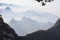 Mountains and Cloud. Mount Hua, or Hua Shan (simplified Chinese: 华山) is a mountain located near the city of Huayin in Shaanxi province, about 120 kilometres Royalty Free Stock Image