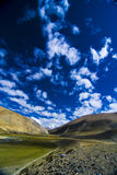 Mountains and clouds. A landscape image of mountains and a cloudy blue sky in Tibet Royalty Free Stock Photos