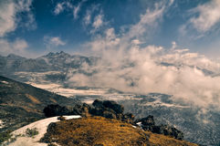 Mountains and clouds in Arunachal Pradesh, India Royalty Free Stock Photo