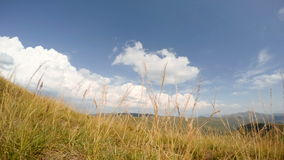 Mountains and Clouds on the Background of Grass. Time Lapse 4K stock video footage