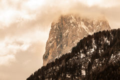 Mountains with clouds and bad weather. Rocky Mountain Royalty Free Stock Images