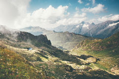 Mountains and clouds Landscape Travel aerial view Royalty Free Stock Images