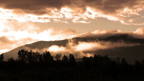 Mountains and clouds stock video footage