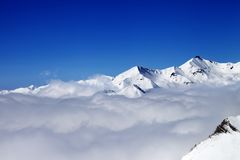 Mountains in clouds at nice day Stock Photography