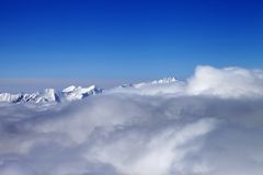 Mountains in clouds at nice sun day Royalty Free Stock Photography