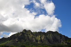 Mountains and clouds on Oahu, Hawaii Royalty Free Stock Photo
