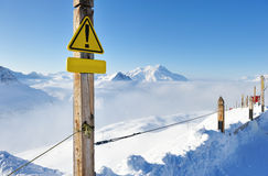 Mountains in clouds with snow in winter Stock Photo