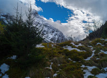 Mountains in clouds. Snowy mountains and blue sky Royalty Free Stock Image