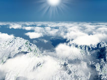 Mountains and clouds with sun Royalty Free Stock Images