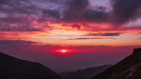 Mountains clouds sunset time lapse panorama 4k stock video footage