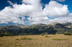 Mountains with cloudy sky. Rila mountains scenery with cloudy sky in Bulgaria Stock Photo
