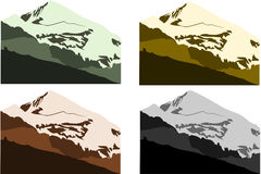 Mountains collection 2. Vector collection of european mountains in different colors Stock Photography