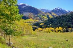 Mountains with colorful aspen during foliage season Stock Photo