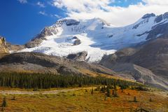 Mountains Columbia Icefield, Canadian Rockies. Mountains - Columbia Icefield in fall. Banff Jasper National Park. Canadian Rockies. Canada royalty free stock images