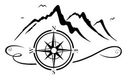 Mountains with compass stock photo