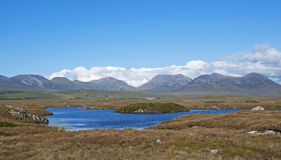 The Mountains of Connemara. A view across the moors and peat bogs of Connemara toward the mountains Stock Image