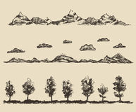 Mountains contours clouds forest vector sketch Stock Photography