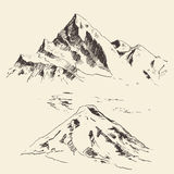 Mountains Contours Engraving Vector Hand Draw Royalty Free Stock Photo