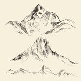 Mountains Contours Engraving Vector Hand Draw Royalty Free Stock Image