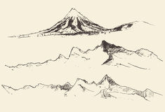 Mountains Contours Engraving Vector Hand Draw Stock Photo