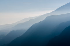 Mountains covered in fog Royalty Free Stock Photo