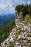 Mountains covered in forests. Landscape with limestone mountains covered in deciduous forests Stock Image