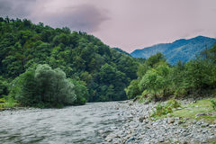 Mountains covered with green forest landscape river Royalty Free Stock Photo