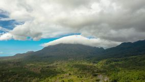 Mountains covered with rainforest and clouds, timelapse. stock video