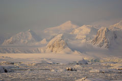 Mountains covered with snow and glaciers of the Antarctic Penins Stock Photo