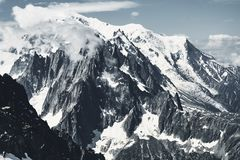 Mountain and snow peaks of France royalty free stock photo