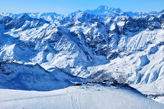 Mountains. Covered with snow, sunny day Stock Images