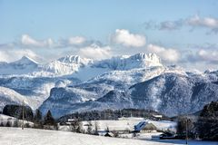 Snowy mountains in the wolf valley royalty free stock photo