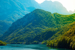 Mountains covered with treet neat the river Stock Photo