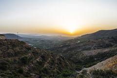 Mountains of Crete. The landscape of the mountains on the island of Crete, Greece. Europe . View on the village and olive trees Royalty Free Stock Photography