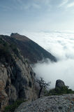 Mountains of Crimea. Top of Dimerdzhi in clouds. Southern coast of Crimea Stock Photos