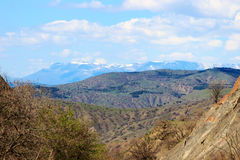 Mountains in the Crimea. Mountains, plains in the Crimea under a blue sky Royalty Free Stock Images