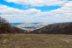 Mountains in the Crimea. Mountains, plains in the Crimea under a blue sky Royalty Free Stock Photo