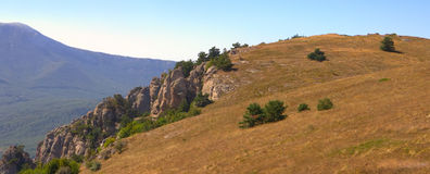 Mountains in Crimea in summer panorama Royalty Free Stock Photography