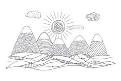 Mountains with cute sun and clouds. Vector landscape in black and white. Hand drawn vector illustration with simple patterns. Mountains silhouette in doodle Royalty Free Stock Photography